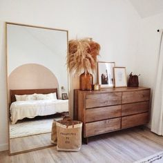 Boho Bedroom Discover Metal Frame Oversized Floor Mirror Antique Brass With its subtle metal frame and minimalist design this oversized floor mirror adds a finished touch to any room. Boho Bedroom Decor, Home Bedroom, Earthy Bedroom, West Elm Bedroom, Apartment Bedroom Decor, Natural Bedroom, Simple Bedroom Decor, Scandinavian Bedroom Decor, Simple Apartment Decor