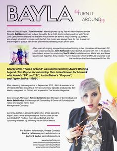 BAYLA continues to beat the odds with her debut single 'Turn it around' picked up by Top 40 radio stations across Canada. Vocal Cord Dysfunction, Growing Up, Singing, Nice, Music, Cat Breeds, Grow Taller, Muziek, Musik