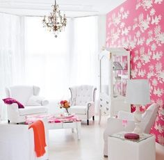 White Tufted Furniture, pink and white room