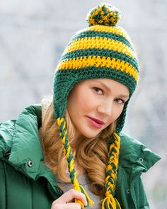 Crochet this hat and let the world know which team is your team! In fact this easy pattern is great for the whole cheering section to wear!