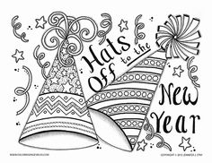 Happy New Year 2017 Adult Coloring Pages Free