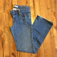Gap jeans Long inseam gap jeans 12 tall. Medium wash, some fraying on the hem, and there is an interior button missing as shown in pic. It has the normal outside button so they close normally. GAP Jeans Straight Leg