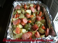 Smoked Turkey Sausage and Roasted Vegetables *Make Lower Carb by substituting cabbage in place of potatoes.