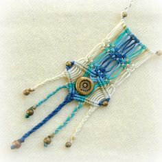 Eagle's call - natural style blue macrame necklace with beautiful beads. $47.00, via Etsy.