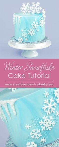 Winter Snowflake Cake Tutorial - Cakes by Lynz