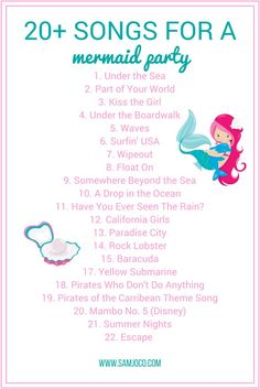 More than 20 songs that are perfect for a mermaid party! The best playlist to set the mood and ambiance of your next mermaid inspired under the sea birthday party for kids. Mermaid Theme Birthday, Little Mermaid Birthday, Little Mermaid Parties, Mermaid Themed Party, Mermaid Party Games, Mermaid Birthday Decorations, 6th Birthday Parties, 4th Birthday, Birthday Ideas