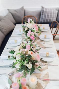 Floral covered bridal party table: http://www.stylemepretty.com/2017/02/15/ali-fedotowsky-bridal-shower-photos/ Photography: Ashley Burns - http://www.ashleyburnsphotography.com/