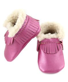 Another great find on #zulily! Fuchsia Fringe Faux Shearling-Lined Bootie #zulilyfinds