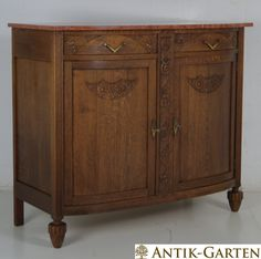 Superb Anrichte Art D co Eiche massiv um Kommode Sideboard Schrank Buffet in Antiquit ten u