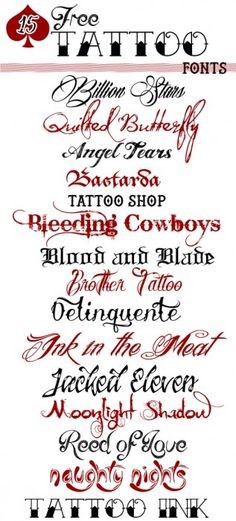 15 Free Tattoo Fonts @ Sweet T Makes Three ~~ {15 free fonts w/ easy download links}