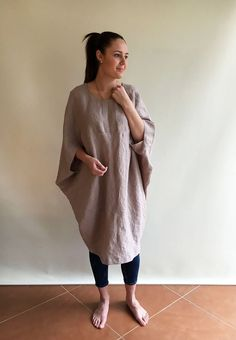 58fe2c6b56a Cocoon Type Linen Tunic Dress with Mid Sleeves. Etsy. Loose Linen Dress  women Oversized dress Plus size by Linenbeeshop