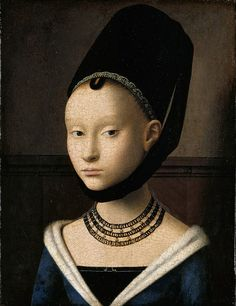 ▴ Artistic Accessories ▴ clothes, jewelry, hats in art - Petrus Christus | Portrait of a Young Woman, c.1470
