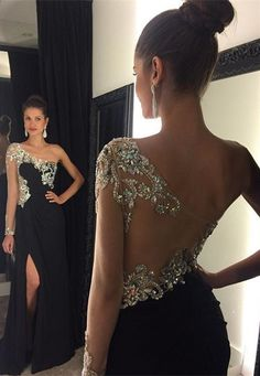 2016 Black Mermaid Prom Dresses One Shoulder Crystals Beaded Side Split Sexy Evening Gowns