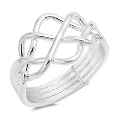 Rings, Bands,High Polish Bar Knot Puzzle Ring New Sterling Silver Band Sizes Puzzle Jewelry, Puzzle Ring, Silver Jewelry, Silver Rings, Gold Jewellery, Celtic Wedding Rings, Statement Rings, Jewelry Shop, Selling Jewelry