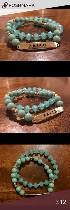 "NEW! ""Faith"" Beaded Bracelet Set ""Faith"" Beaded Bracelet Set: Brand NEW! (NWT) Two shades of green and gold beads STUNNING! Jewelry Bracelets"