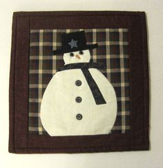 Snowman Winter or Christmas Quilted Mug Rug by QuiltingGranny