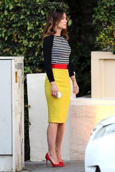 La jupe crayon colorée d'Olivia Wilde
