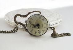 """Pendant watch/pocket watch Pocket watch Pendant Necklace """"Glass bowl antique"""" bronze"""