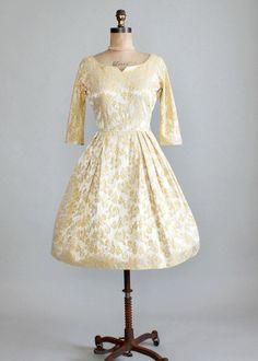 Vintage 1950s Herman Marcus Gold Brocade Party Dress