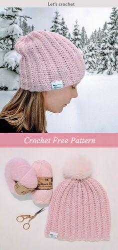 Strawberry Fluff Hat Crochet Free Pattern #freecrochetpatterns #hat