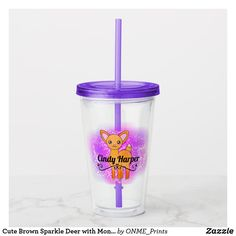 Cute Brown Sparkle Deer with Monogram Acrylic Tumbler  #Onmeprints #Zazzle #Zazzlemade #Zazzlestore #Zazzlestyle #Cute #Brown #Sparkle #Deer #Monogram #Acrylic #Tumbler Deer Cartoon, Stationary Gifts, Sticky Fingers, Acrylic Tumblers, Twinkle Star, Felt Hearts, Tea Mugs, Special Gifts, Flask