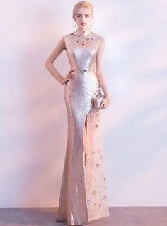 Ladywearing has a great selection of dresses cheap on sale. Find an amazing-looking Champagne Lace Sequined Stand Collar Long Slim Mermaid Split Dress on a budget with ladywearing clearance! Gala Dresses, Prom Party Dresses, Homecoming Dresses, Floral Evening Dresses, Evening Gowns, Lace Beach Wedding Dress, Red Carpet Gowns, Bodycon Dress Parties, Metallic Dress