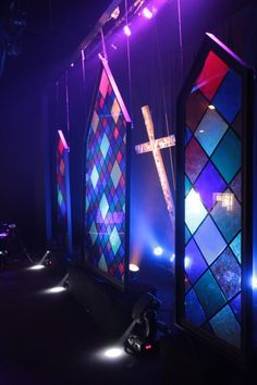 Stained Glass | Church Stage Design Ideas - might be able to make one frame for Sister Act....using tissue paper instead of painting acrylic