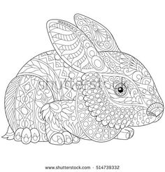 Stylized rabbit (bunny, hare) isolated on white background. Freehand sketch for adult anti stress coloring book page with doodle and zentangle elements.