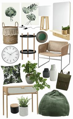 Simple ways to add Green Vibes to your Home - botanical interior design ideas m. - Simple ways to add Green Vibes to your Home – botanical interior design ideas mood board on tlc - Interior Design Courses, Decor Interior Design, Interior Design Living Room, Living Room Designs, Moodboard Interior Design, Interior Ideas, Furniture Design, Interior Decorating, Interior Design Boards