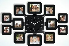 Wall clock with 12 photo frames ! Clock Decor, Frame Wall Decor, Frames On Wall, Wall Art Decor, Giant Wall Clock, Photo Wall Clocks, Decor Around Tv, 3d Wallpaper For Walls, Photo Frame Design
