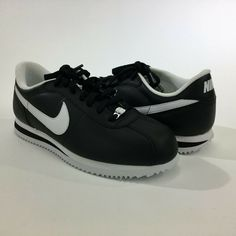 reputable site b930e 74d38 Nike Cortez Basic Leather 06  Black White-Silver 7.5 Running Shoes 316418-