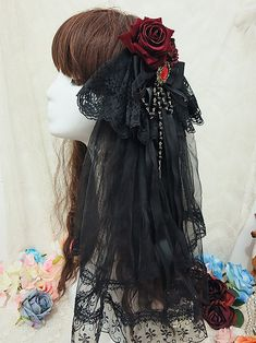 Diablo Bride Lolita Headdress with Veil-Black Gothic Hair Accessories Lolita Hair, Lolita Dress, Tribal Fashion, Cute Fashion, Rock Fashion, Fairy Makeup, Mermaid Makeup, Fantasy Hair, Fantasy Makeup