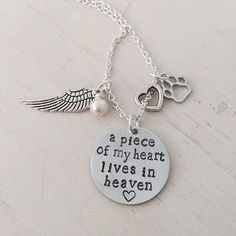 Pet Memorial, Pet Loss, Dog, Cat, Personalized, Hand Stamped Necklace