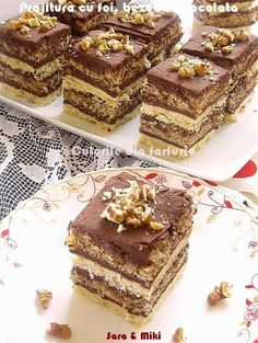 Pastry with cakes, meringues and chocolate Sweets Recipes, Just Desserts, Delicious Desserts, Cake Recipes, Romanian Desserts, Romanian Food, Cake Bars, Something Sweet, Food To Make
