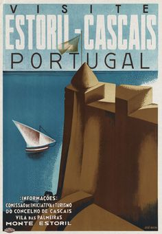 Mixed Media - Visite Estoril-cascais Portugal - Sailboat - Retro Travel Poster - Vintage Poster by Studio Grafiikka , Cascais Portugal, Visit Portugal, Portugal Travel, Vintage Advertisements, Vintage Ads, Most Famous Artists, Illustrations, Vintage Travel Posters, Vacation Trips
