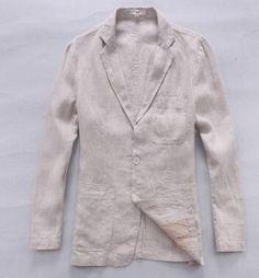 22c9e1ebff44 England thin slim fit single breasted flax blazer men suit linen jacket  summer male jacket new