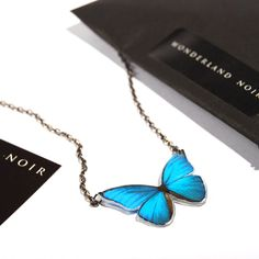 Papilio Ulysses Black Gunmetal Necklace, Realistic Butterfly Acrylic Tiny Pendant, Lightweight, Spring Trends