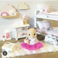 Love this gorgeous dollhouse room by @whimsy_woods !  Can you see the scattering of our miniature decor pieces all around this beautifully styled room?  There are 6 of our pieces in this set - can spot them all?  And how cute are the little cloud shelves by Whimsy Woods - and the cloud cushion by @little_mackie !  Oh its all so cute! Modern Dollhouse, Diy Dollhouse, Dollhouse Miniatures, Cloud Shelves, Sylvania Families, Miniature Rooms, Miniature Fairy Gardens, Barbie Furniture, Dollhouse Furniture