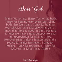 Prayer for pain and healing