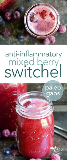 When you're needing a cold refreshing drink this summer reach for this easy, anti-inflammatory Mixed Berry Switchel! It's paleo, GAPS-friendly, and refined sugar-free. #paleo #GAPSdiet #realfood #refinedsugarfree #dairyfree #grainfree #fermented #drinks #berries #summer #immuneboosting #healthydrinks