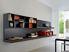 Wall-mounted sectional floating bookcase PASS | Floating bookcase - MOLTENI & C.