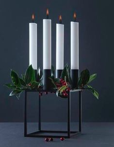 You can't walk into a Danish home in December without finding an Advent wreath. : You can't walk into a Danish home in December without finding an Advent wreath of some sort. Christmas Advent Wreath, Scandinavian Christmas, Modern Christmas, Christmas And New Year, Winter Christmas, Christmas Time, Christmas Bulbs, Christmas Decorations, Xmas