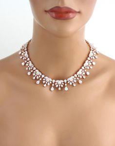 Rose gold Wedding necklace Bridal necklace CZ Statement | Etsy Rose Gold Wedding Jewelry, Vintage Wedding Jewelry, Gold Bridal Earrings, Bridal Bracelet, Bridal Jewelry Sets, Bridal Necklace, Rose Gold Earrings, Bridal Sets, Bridal Jewellery