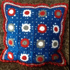 Granny square kussen hollands glorie