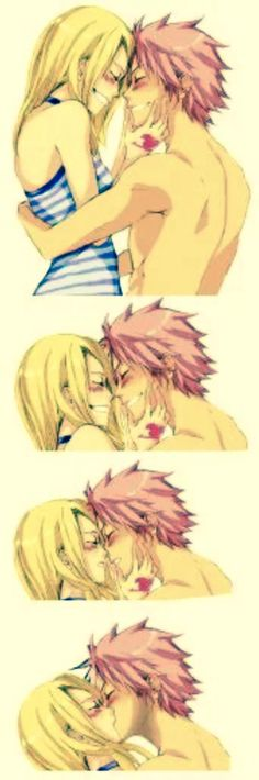 Nalu kisses.  Best friend to couple.  Nice