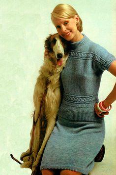 Pdf Vintage Womens Ladies Dress Knitting Pattern ARAN like Knitting Patterns, Crochet Patterns, Vintage Knitting, Retro Outfits, Knit Dress, 1970s, Vintage Ladies, Knitwear, Knit Crochet