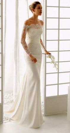 Trendy wedding dresses lace sleeves off shoulder rosa clara Ideas Classy Wedding Dress, 2016 Wedding Dresses, Perfect Wedding Dress, Bridal Dresses, Wedding Gowns, Trendy Wedding, Wedding Lace, Wedding Dressses, Bridesmaid Dresses