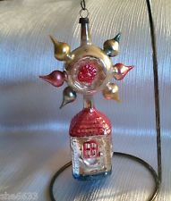 VTG ANTIQUE GERMAN HOUSE INDENTED XMAS ORNAMENT GERMANY MERCURY GLASS STAR MICA