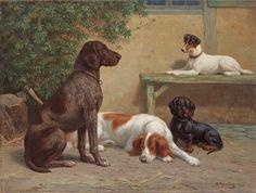 """Hundar på gård,"" 1908 -- by Heinrich Sperling (German, 1844–1924)"