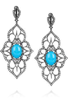 LOREE RODKIN  Open Flower 18-karat rhodium white gold and diamond drop earrings